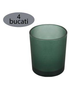 Set 4 suporturi de lumanari tip pastila, Rasteli, sticla, Ø 5 cm, h 6.5 cm, verde mat, art. 7105