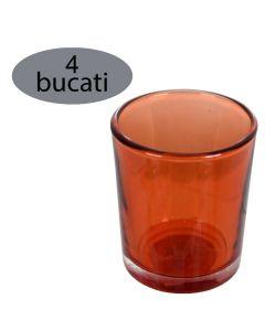 Set 4 suporturi de lumanari tip pastila, Rasteli, sticla, Ø 5.5 cm, h 6.5 cm, portocaliu transparent, art. 5906.1
