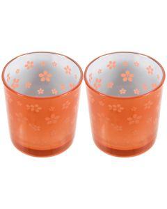 Set 2 suporturi de lumanari tip pastila, Rasteli, sticla, Ø 7 cm, h 7.5 cm, model flori, portocaliu metalizat, art. 7745