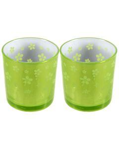 Set 2 suporturi de lumanari tip pastila, Rasteli, sticla, Ø 7 cm, h 7.5 cm, model flori, verde lime metalizat, art. 7746