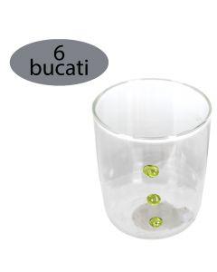 Set 6 pahare pentru apa/suc/racoritoare, sticla, Ø 6.5 x h 8 cm, 220 ml, model aplicat verde