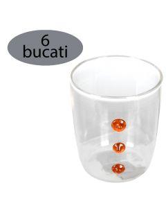 Set 6 pahare pentru apa/suc/racoritoare, sticla, Ø 6.5 x h 8 cm, 220 ml, model aplicat portocaliu