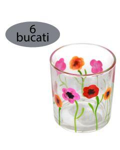 Set 6 pahare pentru apa/suc/racoritoare, sticla pictata, Ø 7 x h 8 cm, 200 ml, model flori, multicolor