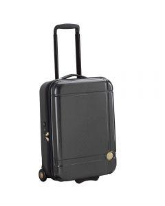 Troler cabina avion, Naomi Campbell gold edition, compatibil cu toate liniile aeriene, inchidere cifru, compatibil TSA, maner ergonomic, design lucios texturat cu detalii aurii, 2 roti, gri, 55 x 36 x 20 cm, 33 L