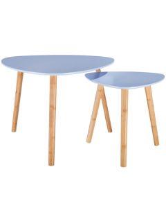 Set 2 mese pentru cafea, cu 3 picioare, masa mare-L60 x h48 cm, masa mica-L40 x h40 cm, asimetrica, blat MDF, picioare bambus, bleu