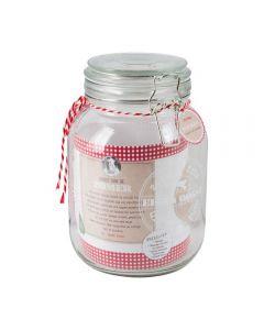 Borcan din sticla cu inchidere ermetica, cu capac si garnitura de cauciuc, borcan compot/muraturi/miere, h19 cm, cu etichete si sfoara alb-rosu, transparent, 1, 6 litri