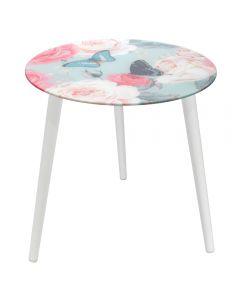 Masa cu blat de sticla, masuta rotunda cu 3 picioare din lemn, pentru cafea, Ø40 x h45 cm, model fluturi si flori