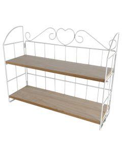 Raft cu doua polite MDF, etajera din lemn pe suport metalic, pentru flori sau obiecte decor, 49 x 15,5 x 38 cm, alb