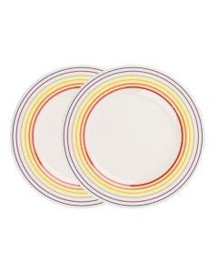Set de 2 farfurii, 22 cm, 2 x farfurie ceramica aperitiv/fel principal, mic dejun, set servire masa, Bugatti, alb dungi multicolore