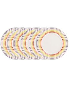 Set de 6 farfurii, 22 cm, 6 x farfurie ceramica aperitiv/fel principal, mic dejun, set servire masa, Bugatti, alb dungi multicolore