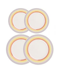 Set de 4 farfurii, set servire masa, 2 farfurii d 22 cm, 2 farfurii d 27 cm, farfurie ceramica, Bugatti, alb dungi multicolore