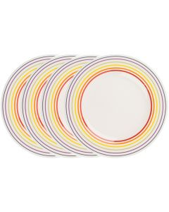 Set de 4 farfurii, 27 cm, 4 x farfurie ceramica aperitiv/fel principal, mic dejun, set servire masa, Bugatti, alb dungi multicolore