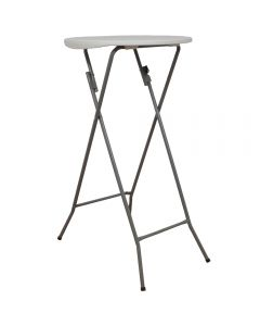 Masa plianta rotunda inalta pentru Banchet / Evenimente / Catering, picioare metal pliabile, d 60 cm, h 110 cm, alb, Atelier