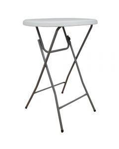 Masa plianta rotunda inalta pentru Banchet / Evenimente / Catering, picioare metal pliabile, d 80 cm, h 110 cm, alb, Atelier
