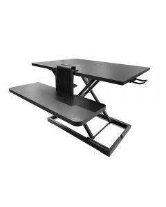 Suport inaltare monitor, Quasar, standing desk reglabil, stand pentru birou, negru