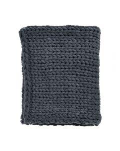 Patura decorativa din lana ecologica cu fir gigant, lucrata manual cu impletituri mari, 120 x 150 cm, gri
