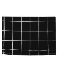 Prosop de bucatarie, bumbac, 30 x 40 cm, negru cu dreptunghiuri dungi albe