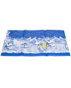 Napron patrat pentru masa, traversa din hartie , rezistenta, fata de masa, model sat, 84 x 84 cm, albastru, Duni