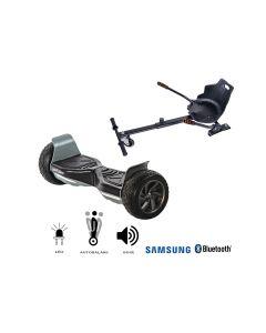 PACHET PROMO Smart Balance: Hoverboard Hummer Black + Hoverseat, roti 8,5 inch Bluetooth, baterie Samsung, Boxe incorporate, AutoBalans, Geanta de transport, putere 700W, led-uri, lumini de zi/noapte, autonomie 15 km