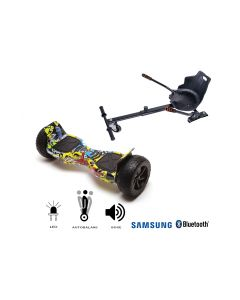 PACHET PROMO Smart Balance: Hoverboard Hummer HipHop + Hoverseat, roti 8,5 inch Bluetooth, baterie Samsung, Boxe incorporate, AutoBalans, putere 700W, led-uri, lumini de zi/noapte, autonomie 15 km