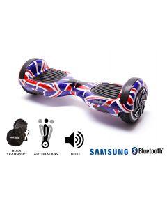 Hoverboard Smart Balance, Regular England, roti 6,5 inch Bluetooth, baterie Samsung, Boxe incorporate, AutoBalans, Geanta de transport, putere 700W, led-uri, lumini de zi/noapte, autonomie 15 km