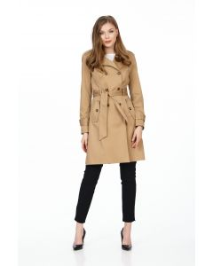 Trench Be You, camel cu doua randuri de nasturi