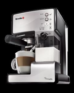 Espressor cafea Breville Prima Latte VCF045X-01, 15 Bari, 1.5 L, Recipient detasabil lapte 0.3 l, 3 functii, Argintiu