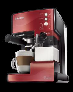 Espressor cafea Breville Prima Latte VCF046X-01, 15 Bari, 1.5 L, Recipient detasabil lapte 0.3 l, 3 functii, Rosu