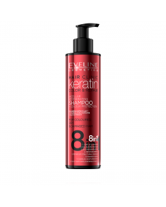 Sampon de par, Eveline Cosmetics, 8 in 1 Hair Clinic keratin color & repair, 245 ml