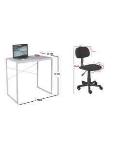 Scaun birou copii, rotativ  GRUNBERG  SI Masa multifunctionala, Metal + Mdf, 78 X 46 X 76 CM, Gri/alb