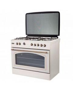 Aragaz Studio Casa, FE90/60 Avena Rustic, 90 cm, 4 arzatoare gaz+ 1 ochi electric, rotisor, grill, gratare fonta