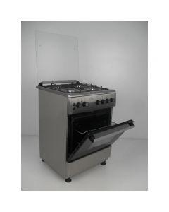 Aragaz FG60/60 Nevio Nuova Cucina, cuptor gaz, 4 arzatoare gaz, grill electric, rotisor, timer, termostat, Inox