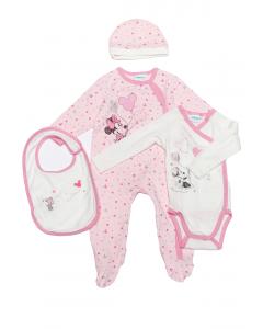 Set salopetă +body+căciulă+bavețică nou născut 0/9 luni Minnie