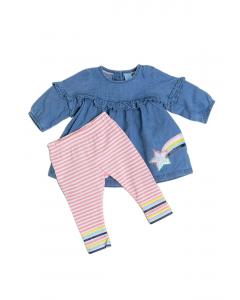 Set rochie și colanți bebe 3/23 luni