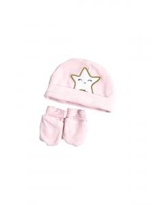Căciulă și mănuși bebe nou născut  0/6 luni