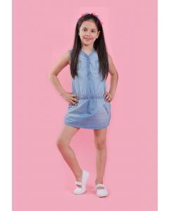 Rochie mânecă scurtă jeans fete 2/14 ani