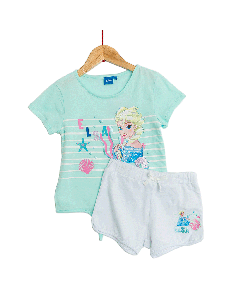 Set tricou + pantaloni scurți fete 2/8 ani