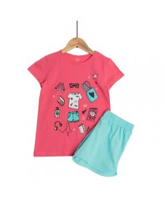 Set tricou + pantaloni scurți fete 2/14 ani