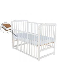 BabyNeeds Patut din lemn Ola 120x60 cm cu laterala culisanta Alb + Saltea 10 cm