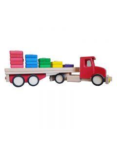 Lupo - Jucarie din lemn Camion cu semiremorca si blocuri de lemn Rosu