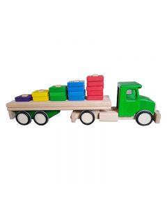 Lupo - Jucarie din lemn Camion cu semiremorca si blocuri de lemn Verde
