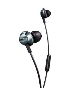 Casti audio Philips PRO6305BK/00, microfon incorporat, intraauriculare, audio de inalta rezolutie, izolare fonica, design ergonomic, lungime cablu 1.2m, conector placat cu aur, Argintiu/Negru