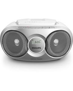 Microsistem audio Philips AZ215S/12, CD Player, tuner FM, AUX, 3W, Dynamic Bass Boost, reglare automata digitala, Gri/Alb