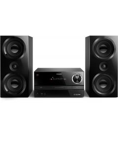Microsistem audio Philips BTM3360/12, Bluetooth, CD/MP3, USB, AUX, 150W RMS, reglare automata digitala, afisaj LED, telecomanda, Negru