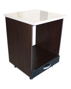 Corp pentru cuptor incorporabil cu sertar Zebra, wenge/Negru lucios, cu blat Travertin, 60 x 85 x 60 cm