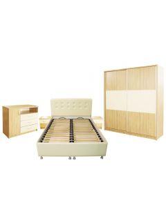 Dormitor Milano cu Pat Tapitat 140x200 cm, Sonoma / Vanilie