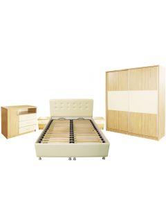 Dormitor Milano cu Pat Tapitat 160x200 cm, Sonoma / Vanilie
