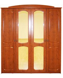 Dulap Roma 4 usi cu oglinzi, 180 x 55 x 220 cm, Visin / MDF Cedru