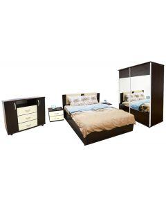 Dormitor Laguna cu pat 160x200 cu somiera rabatabila, Wenge/Vanilie