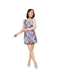 Rochie Citrine Drept, Casual, Midi, Albastru/Multicolor, Fara maneca, Floral, Banda elastica